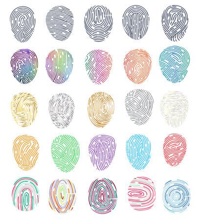 Illustration pour Fingerprint vector fingerprinting identity with fingertip identification illustration set of fingering print and security thumbprint isolated on white background. - image libre de droit