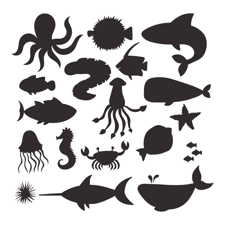 Illustration pour Sea animals vector silhouette creatures characters cartoon ocean wildlife marine underwater aquarium life water graphic aquatic tropical beasts illustration. - image libre de droit