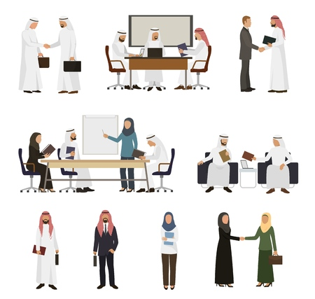 Illustrazione per Arab businessman vector arabian business people handshaking to his business partner illustration set of arabic businesswoman working in office isolated on white background - Immagini Royalty Free