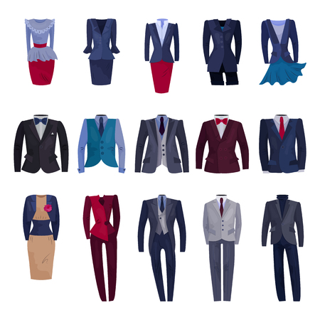 Illustrazione per Business suit vector businessman or businesswoman corporate suited clothes illustration set of manager or worker dress code clothing at office isolated on white background. - Immagini Royalty Free