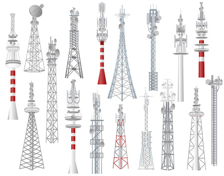 Illustration pour Radio tower vector towered communication technology antenna construction in city with network wireless signal station illustration set of towering broadcast equipment isolated on white background. - image libre de droit