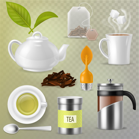 Ilustración de Tea vector drink herbal beverage with dry leaves in tea-cup and teapot or french presson teatime illustration set of mug or cup and tea caddy isolated on transparent background. - Imagen libre de derechos