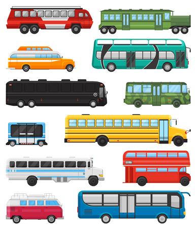 Illustration pour Bus vector public transport tour or city vehicle transporting passengers schoolbus and transportable car illustration transportation set isolated on white background - image libre de droit