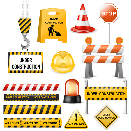 Illustration for Road barrier vector street traffic-barrier warning and barricade blocks on highway illustration set of roadblock detour and realistic blocked roadwork barrier isolated on white background - Royalty Free Image