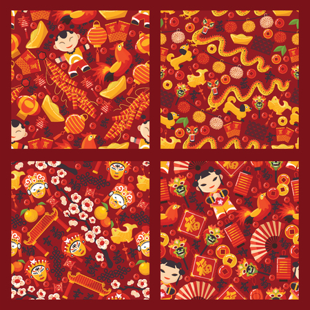 Illustration for Chinese new year seamless pattern vector traditional red lantern oriental decoration of china culture for asian holiday celebration illustration set of backdrop festival dragon character background - Royalty Free Image