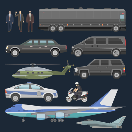Illustration pour Government car vector presidential auto plane and luxury business transportation with police car illustration set of transport bus vehicle and motorcycle with president isolated on background. - image libre de droit