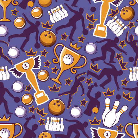 Illustration pour Bowling game seamless pattern vector illustration. Ball crashing into the pins,getting strike. Bowling tournament. Winner of championship. Victory. First place. Male and female players. Entertainment. - image libre de droit