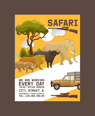 Illustration pour Safari hunting poster vector illustration. Hunter accessories such as gun, jeep car or vehicle in nature with plants as trees, bushes. Sunset. Wild animals as elephant, lion, buffalo, jaguar. - image libre de droit