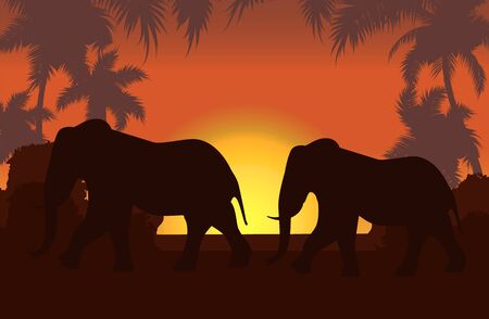 Illustration for Elephants in African savanna at sunset vector illustration. Doum palms, acacia. Silhouettes of animals and plants. Realistic landscape. African elephants. Reserves and national parks. - Royalty Free Image