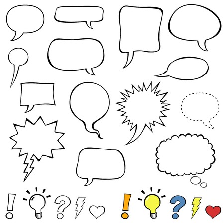 Ilustración de Comics style speech bubbles. Collection set of cute speech balloon doodles plus some punctuation marks, symbols, and bubbles.  - Imagen libre de derechos
