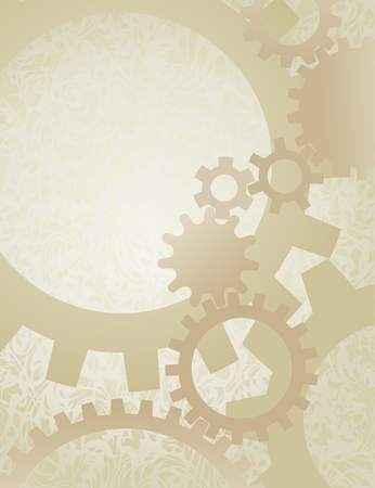 Illustration pour Steampunk Gears Background on Parchment. Background vector illustration of nicely faded gears on old paper. - image libre de droit