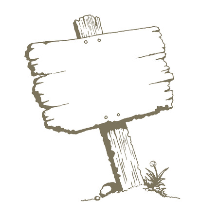 Illustration pour Blank Wood Sign Board. A drawing of an old wooden plank signboard. Can be a road sign, billboard, or sign post. - image libre de droit
