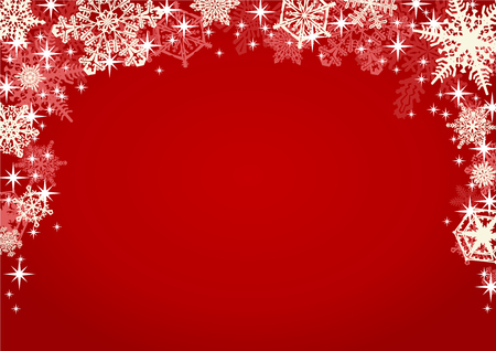 Illustration pour Snowflakes and Sparkling Glitters in Red Background. Christmas winter background framed with many different ornate and intricate falling snowflakes. - image libre de droit