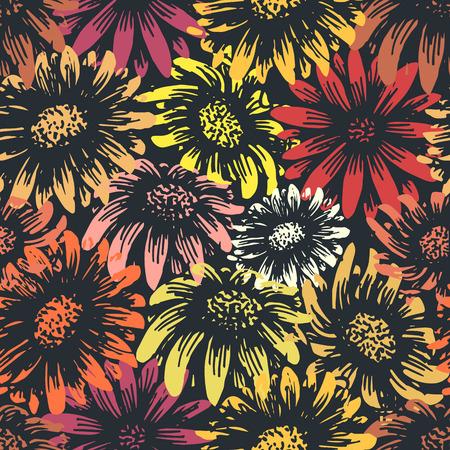 Photo pour Vintage daisy and sunflower flower print. Retro style spring gerbera floral textile pattern. Tiles seamlessly. Change colors easily! - image libre de droit