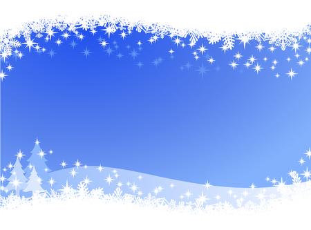 Illustration pour Christmas winter sky lights background. Sparkling Christmas card banner with pine trees and many different snowflakes on the border. - image libre de droit