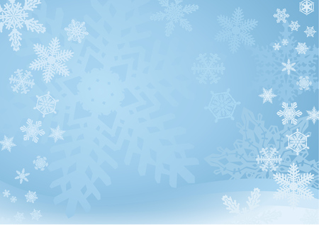 Illustration for Blue Snowflake Background  A blue snowflake background with many different snowflakes. Soft and light. - Royalty Free Image