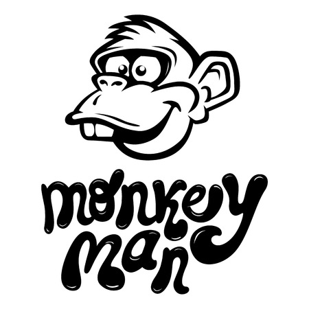 Monkey Cartoon Face with the cool style text  Vector Illustration