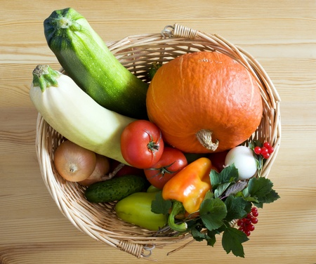 Fresh vegetables in a wicker basket