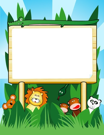 Wooden sign customizable with jungle animals, vector