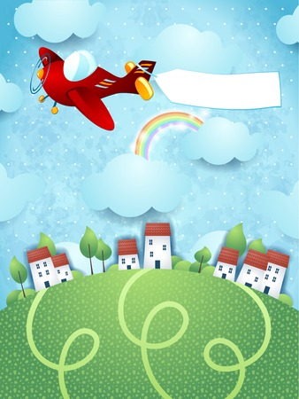 Illustration pour Fantasy landscape with plane and banner, vector eps10 - image libre de droit