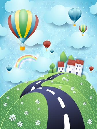 Illustration pour Fantasy landscape with road and hot air balloons - image libre de droit