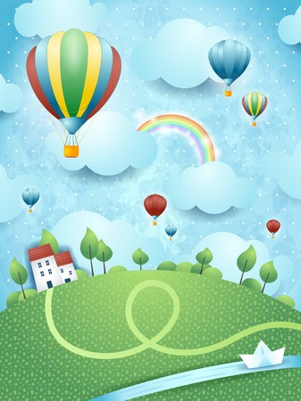 Illustration pour Fantasy landscape with hot air balloons and river - image libre de droit
