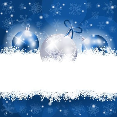 Illustration for Christmas background in blue with copy space, vector eps10 - Royalty Free Image