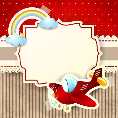 Foto für Airplane and rainbow on cardboard background - Lizenzfreies Bild
