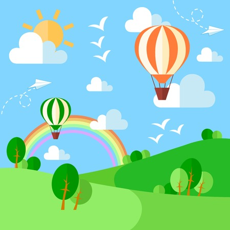 Illustration pour Landscape with hot air balloons illustration in flat style. Vector eps10 - image libre de droit