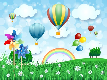 Illustration pour Spring landscape with hot air balloons, vector illustration eps10 - image libre de droit