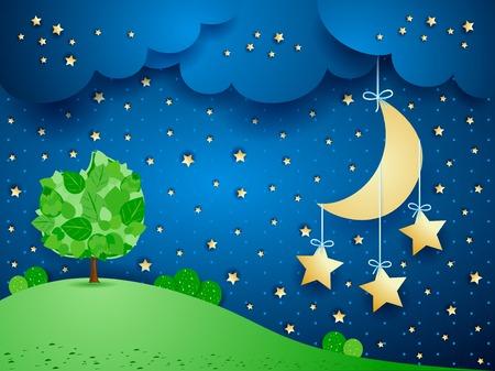 Illustration pour Surreal landscape with hanging stars - image libre de droit