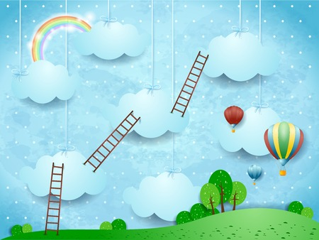 Illustration pour Surreal landscape with ladders and hot air balloons. Vector illustration eps10 - image libre de droit