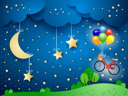 Illustration pour Surreal landscape with hanging moon and bicycle. Vector illustration eps10 - image libre de droit