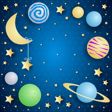Illustration for Sky by night with moon, planets and copy space. Vector illustration eps10 - Royalty Free Image