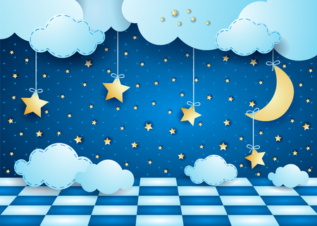 Illustration pour Surreal night with hanging moon, clouds and floor. Vector illustration eps10 - image libre de droit
