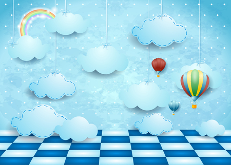 Illustration pour Surreal landscape with hanging clouds, balloons and floor. Vector illustration - image libre de droit