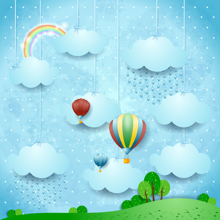 Illustration pour Surreal landscape with rain and hot air balloons, vector illustration eps10 - image libre de droit