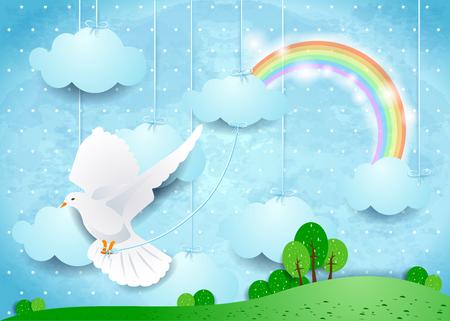 Illustration pour Surreal landscape with dove and hanging clouds. - image libre de droit