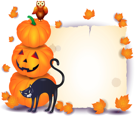 Illustration pour Halloween background with parchment, pumpkin, cat isolated on white. Vector illustration eps10 - image libre de droit