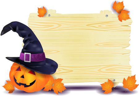 Illustration pour Halloween signboard with big pumpkin and witch's hat. Vector illustration eps10 - image libre de droit