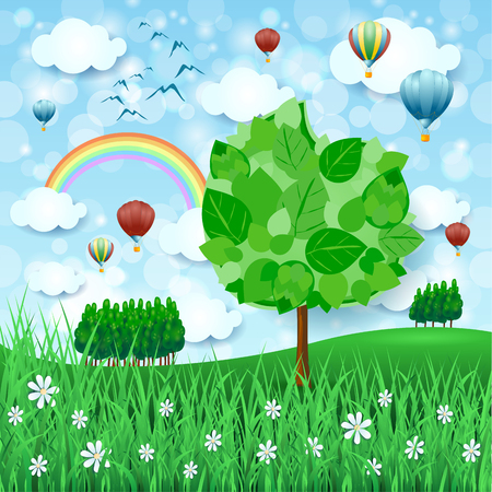 Illustration pour Spring background with big tree and hot air balloons, vector illustration. - image libre de droit