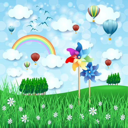 Illustration pour Spring landscape with pinwheels and hot air balloons, vector illustration. - image libre de droit