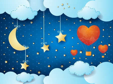 Illustration pour Valentine background with surreal night, moon and hot air balloons. Vector illustration - image libre de droit