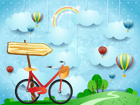 Illustration pour Surreal landscape with hanging clouds, arrow sign and bike. Vector illustration eps10 - image libre de droit