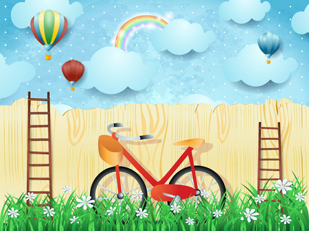 Illustration pour Surreal background with balloons, ladders and bike. Vector illustration eps10 - image libre de droit