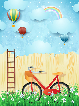 Illustration pour Surreal background with balloons, ladder and bike. Vector illustration eps10 - image libre de droit