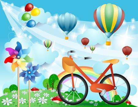 Illustration pour Spring landscape with bike, pinwheels and balloons. Vector illustration eps10 - image libre de droit