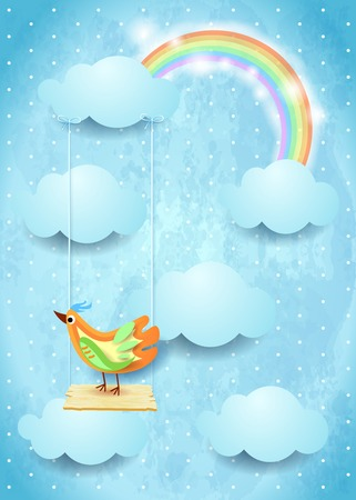 Illustration pour Surreal sky with swing and colorful bird - image libre de droit