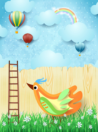 Illustration pour Surreal background with balloons, stairs and colorful bird. Vector illustration eps10 - image libre de droit