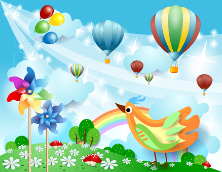 Illustration pour Spring landscape with balloons, pinwheels and bird. Vector illustration eps10 - image libre de droit